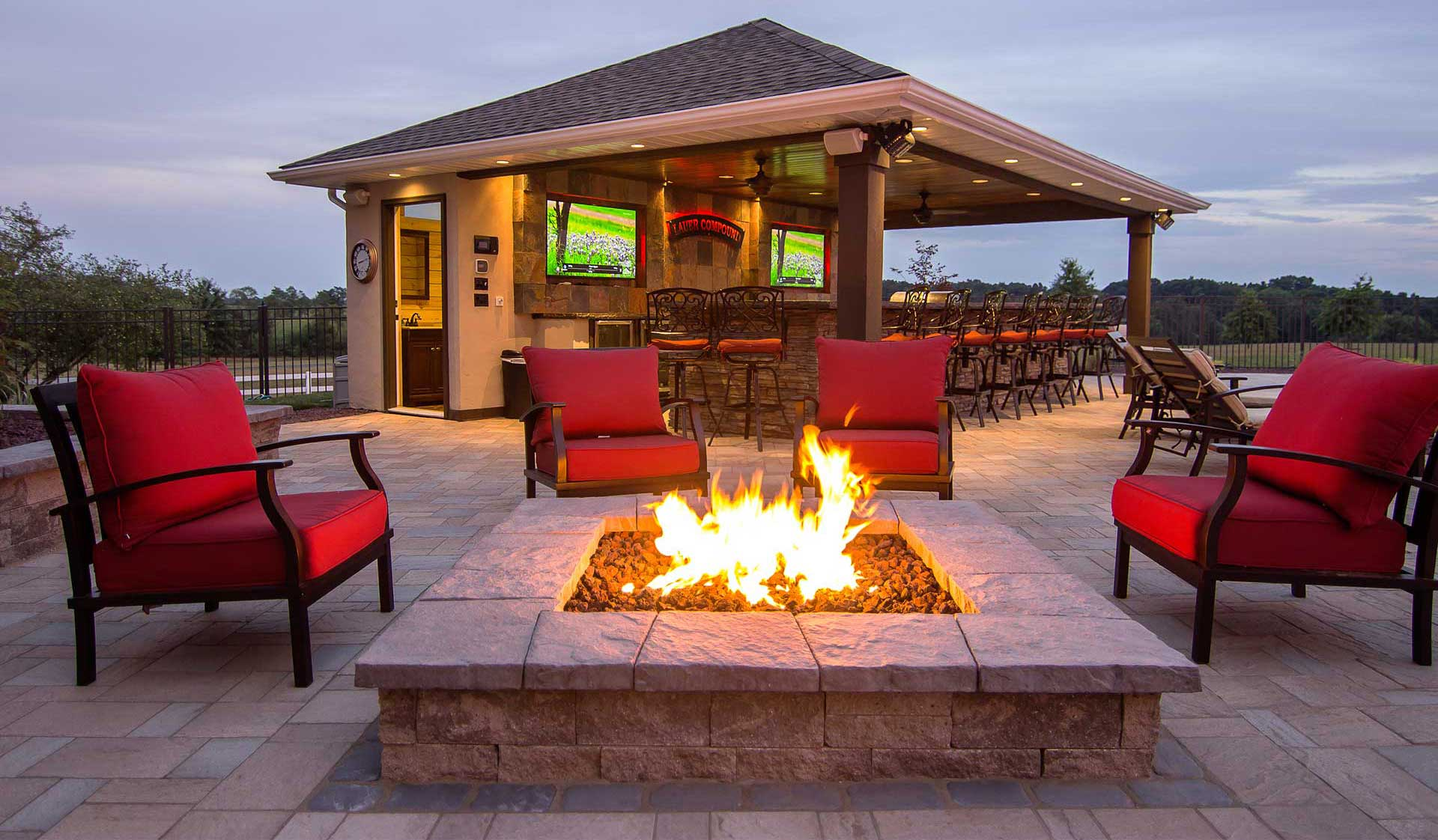 HPC Fire Pit with bar in the background